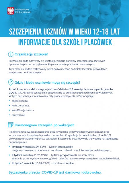 Szczepienia uczniów wieku 12 -18 lat informacje dla szkół i placówek.